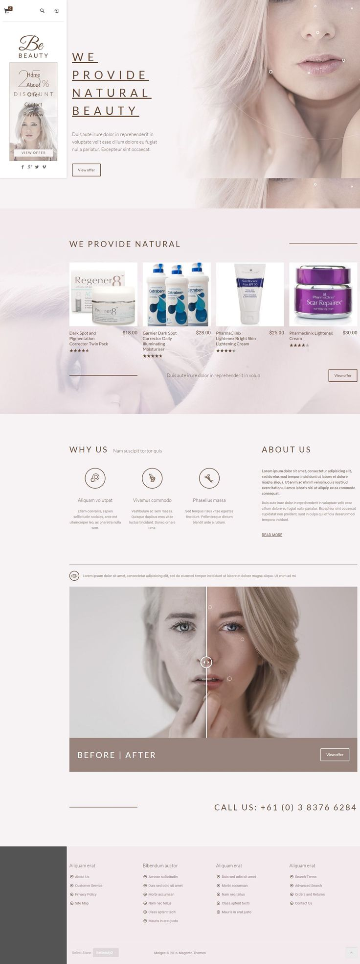 BeTheme Multipurpose Responsive Magento Theme for Stunning Beauty Parlor Website. Demo 27 #cosmetic #spa #beautyparlor #Template
