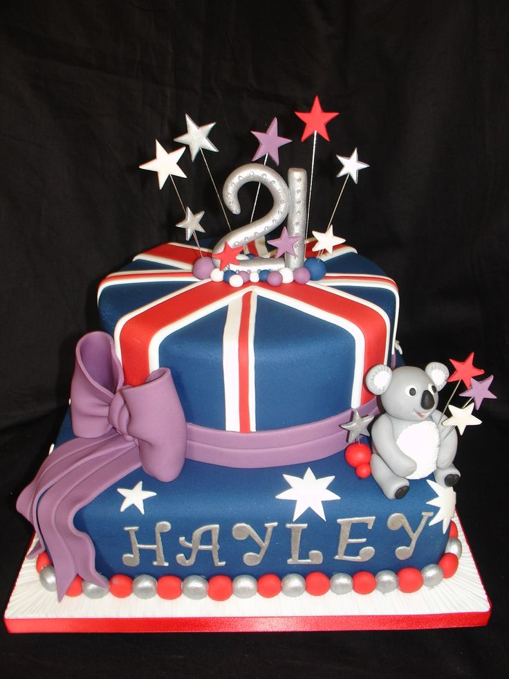 21st - Australian Theme Cake - Cake Order (Apr 2012). This cake was made for a Niece of a Client who comes from Australia. I was asked to design a cake around the Australian Flag. This is what I came up with. Made the Koala Bear, Bow and number 21 from fondant/gumpaste. Everything is edible except for the wires and the gemstones on the 21. Used silver lustre dust mixed with rejuvenated spirit to paint all the silver decorations. I enjoyed making this cake and love the outcome. Hope you enjoy…
