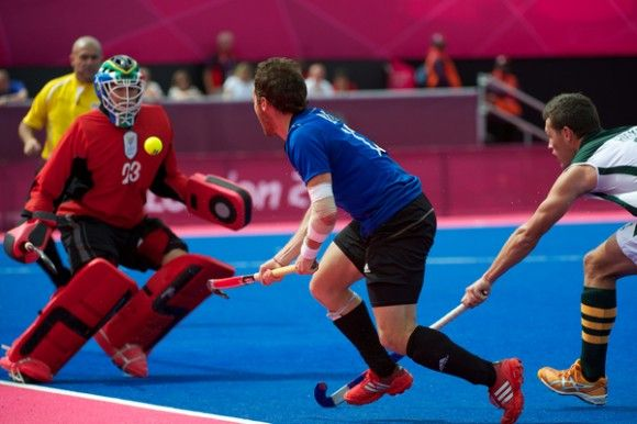 TK Goalie Rassie Pieterse saves the South African goal at the Olympics in London 2012.