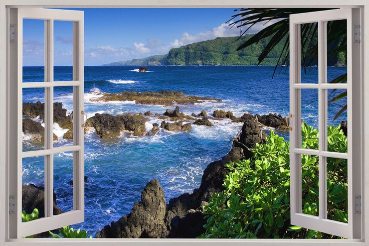 Huge 3d window exotic beach view wall stickers film mural for Beach window mural
