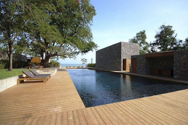 diseo de casa moderna con paredes de piedra en jama casas pinterest