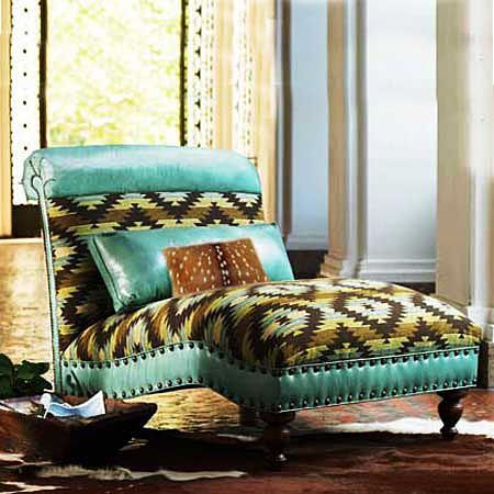 Turquoise Leather Chaise http://www.krsaddleshop.com/turquoise-chaise/p/211324/