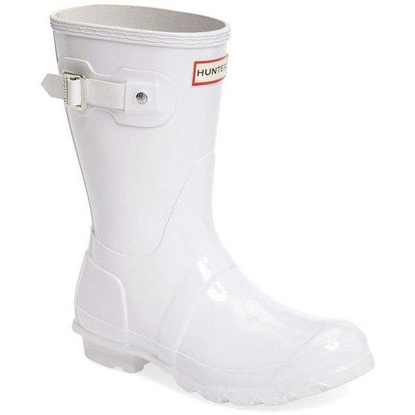 Women's Hunter 'Original Short' Gloss Rain Boot (3.180.515 VND) ❤ liked on Polyvore featuring shoes, boots, white, hunter boots, hunter shoes, short wellington boots, short boots and polishing boots