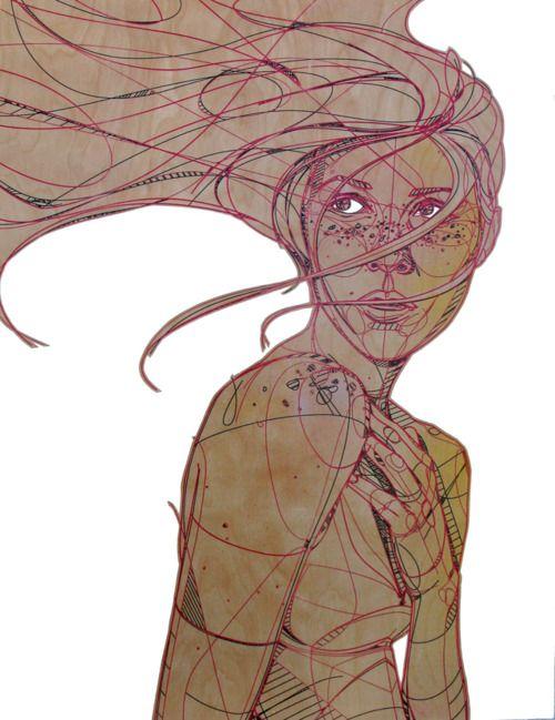 Jason Thielke Jason Thielke es un ilustrador norteamericano que utiliza el grabado láser como técnica base para crear su obra. Con una licenciatura en Bellas Artes, el artista utiliza también otras técnicas como la pintura y el acrílico que completan sus retratos, principalmente de mujeres, aunque también retoma el paisaje urbano y las personas en general.