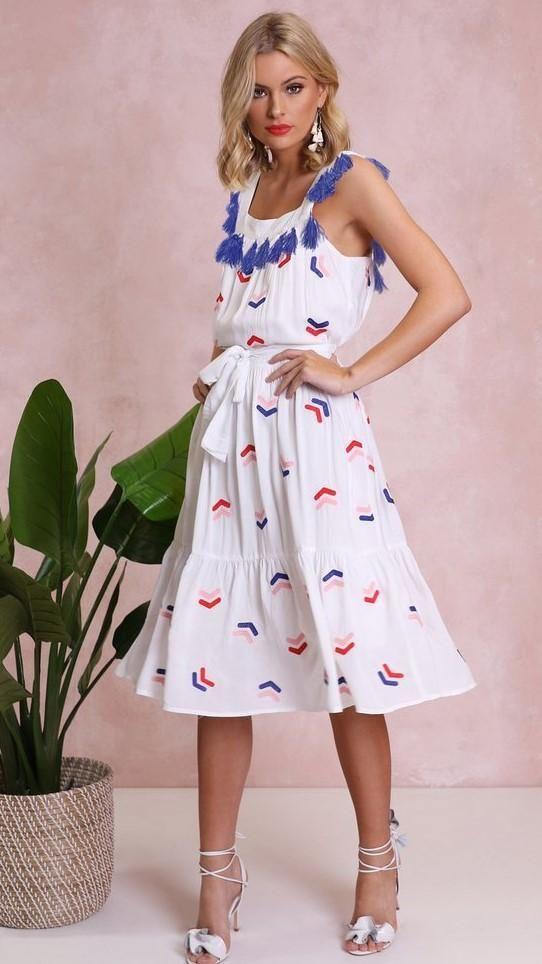 Madison Square - Medusa Embroidered Dress - White