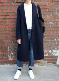 awesome simple blue jacket and blue jeans