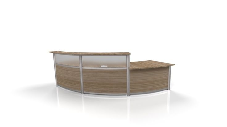 10FT elegant Reception desk with laminate transaction top - finishes Frosted Acrylic, Anodized post and Cocoa Bean.