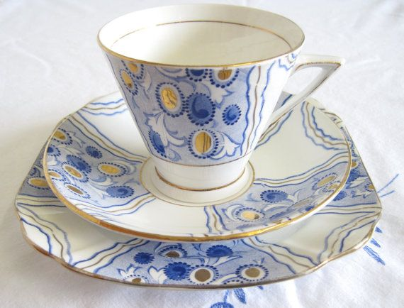Vintage Art Deco Phoenix China Tea Trio, Cobalt Blue and Gold, Hand Painted, RESERVED for Tari until 25 February