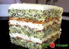 Творожно-маковый диетический торт на 100грамм - 99.14 ккал, Б/Ж/У - 9.91/4.94/3.38