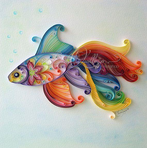 """CUSTOM ORDER Unique quilling art """"Exotic Fish""""."""