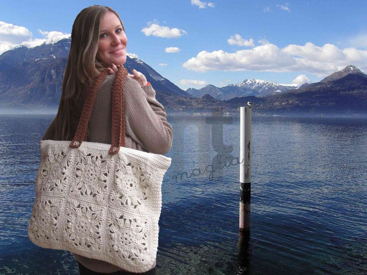DOWNLOADABLE .PDF CROCHET BAG PATTERN A bright, soft, maxi-tote-bag featuring traditional granny squares in a very stylish design. Ideal for the beach, for traveling and for shopping. Fast to make using robust Egyptian cotton yarn and rigid borders. Dedicated to Varenna, the