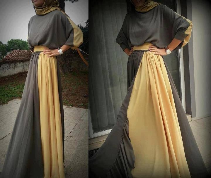 Gray and Yellow Abaya