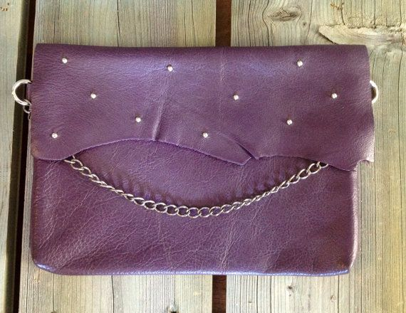 Eggplant Purple Dinner Clutch with Silver by HeartnSoulHandbags, $130.00
