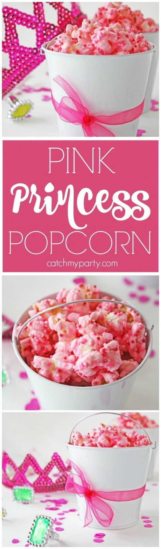 Easy budget-friendly pink princess popcorn treat. This is a great birthday party dessert, looks great on a dessert table, and you can customize the color to match your party! | http://CatchMyParty.com
