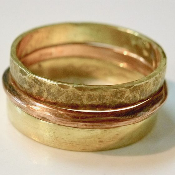Textured trio of rings, brass and copper by ntm. jewellery