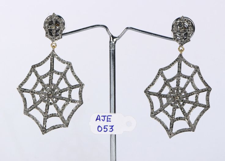 HOLIDAY SPECIAL Victorian Antique Style Stylish Animal Design Earrings Oxidized.925 Sterling Silver Spider web design with  Pave Diamonds by AcmeJewels on Etsy