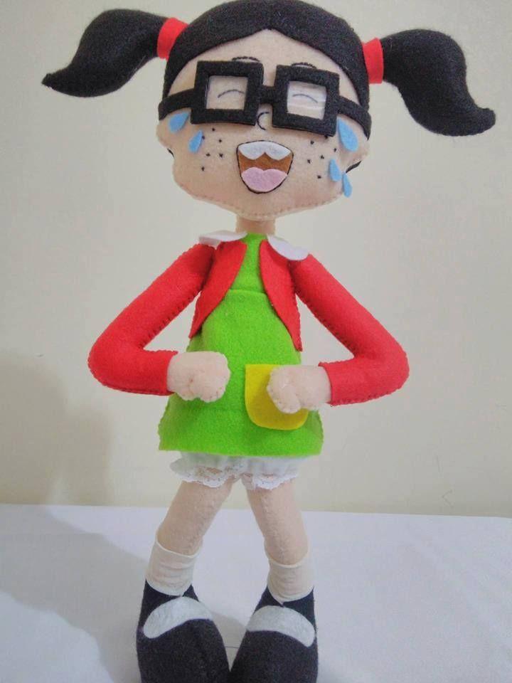 Chiquinha em Feltro - Aprenda a fazer essa linda boneca da Chiquinha do Chaves em Feltro! Molde em tamanho natural. Artesanato em Feltro