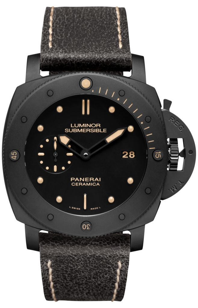 Movement:Automatic mechanical, P.9000 calibre, executed entirely by Panerai, 13¾ lignes, 7.9 mm thick, 28 jewels, Glucydur® balance, 28,800 alternations/hour. Incabloc® anti-shock device. Power reserve 3 days, two barrels. 197 components.