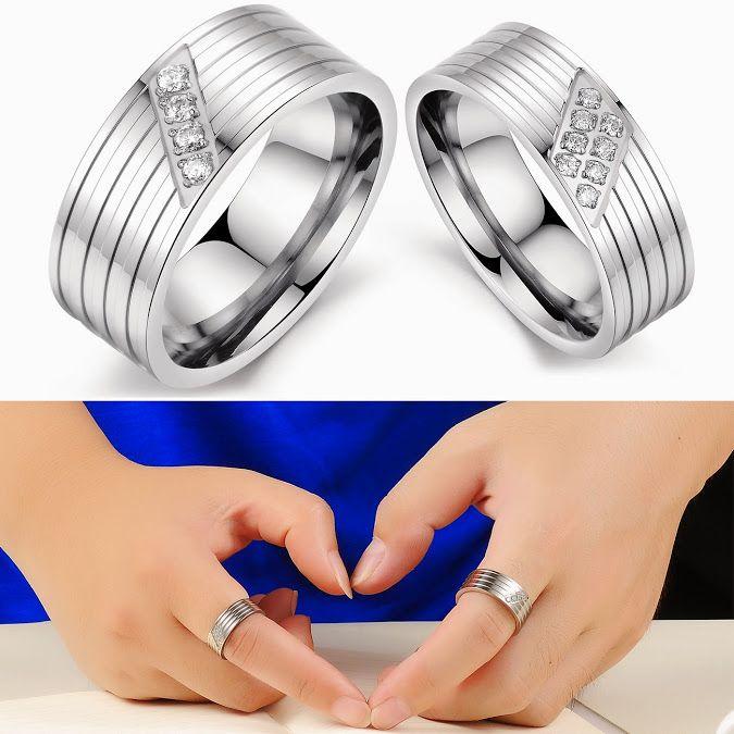Cincin couple titanium warna silver, ekslusif with permata