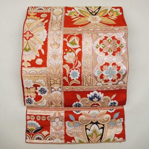【袋帯】正絹/朱色/錆朱色地/ランダムな四角取りの花柄/六通