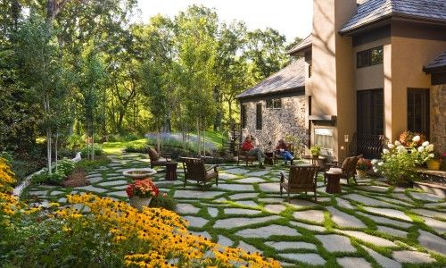 More pavers with low foliage betweenPatios Design, Landscapes Ideas, Contemporary Landscapes, Windsor Company, Flagstone Patio, Gardens, Backyards Spaces, Landscapes Design, Backyards Landscapes