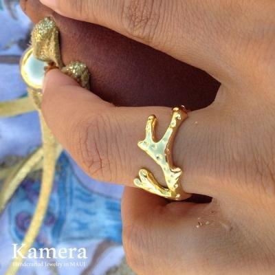 コーラル/サンゴ ナロー リング ゴールド 14K Vermeil [ Kamera Jewelry / カメラジュエリー ハワイ]