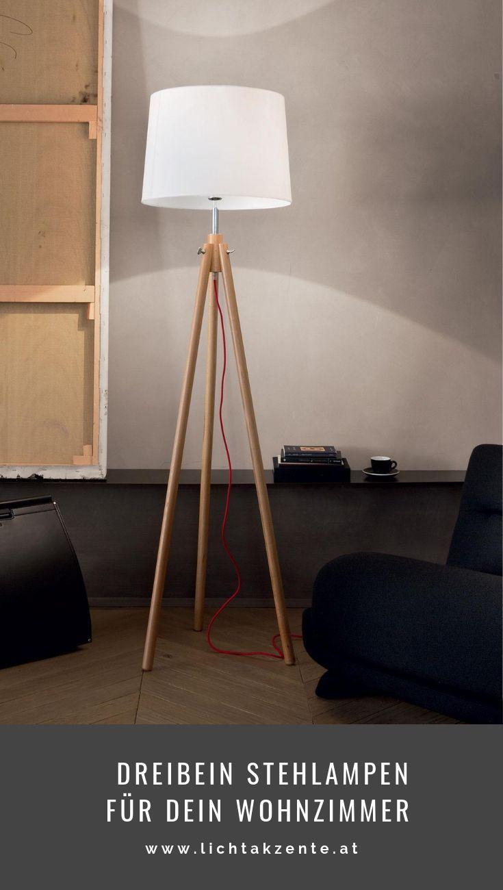 Wohnzimmer Stehlampe York Aus Holz Landhaus Dreibein Stehlampe