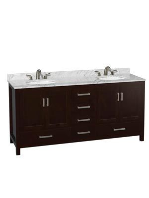 The <b>Sheffield Double Bath Vanity</b> is strikingly simple, yet undeniably handsome and well crafted. The cabinet is built from warp-resistant solid oak hardwood, which is protected by a water-resistant espresso finish.  This color is not only conservative and versatile, it also establishes a perfect transitional look with the brushed chrome hardware. This double bathroom vanity includes two mirrors, but you can choose to upgrade them to medicine cabinets for more utility. Both options…