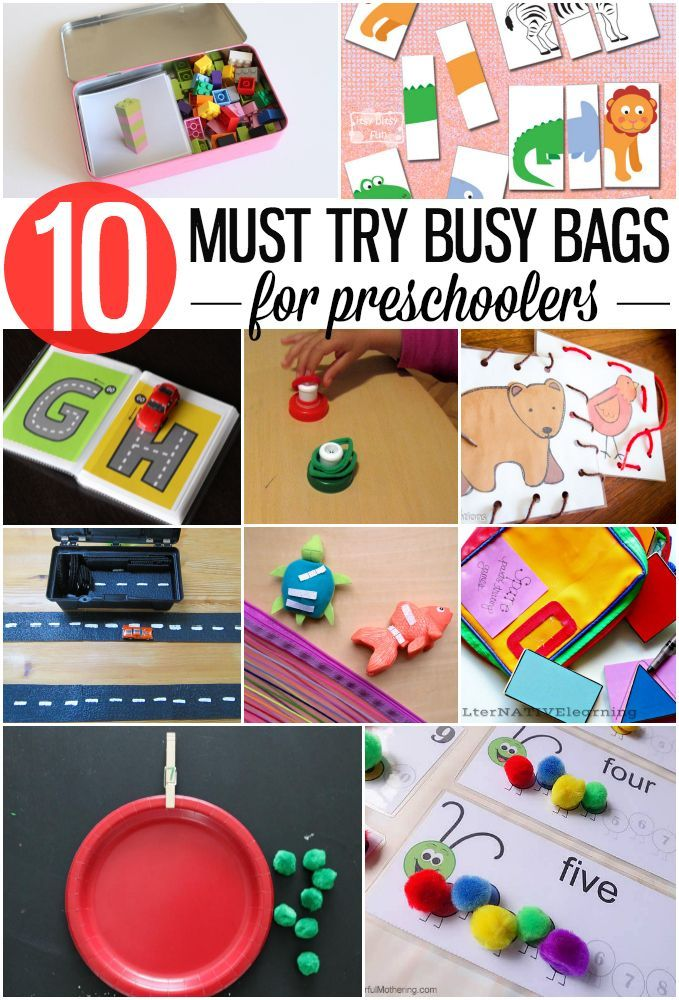10 Must Try Busy Bags for Preschoolers. Fun, screen free ways to keep the kids entertained when you're on the go.