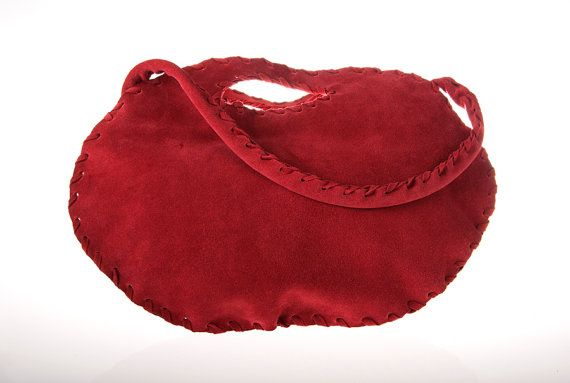 red suede leather purse bag  clutch by ElenLovelyCollection, €115.00