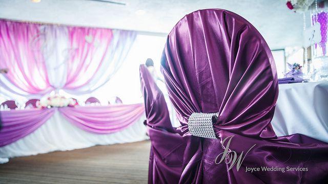 #Purple #Satin #Chaircover with #Silver #Rhinestone #Buckles #Wedding #Elegant