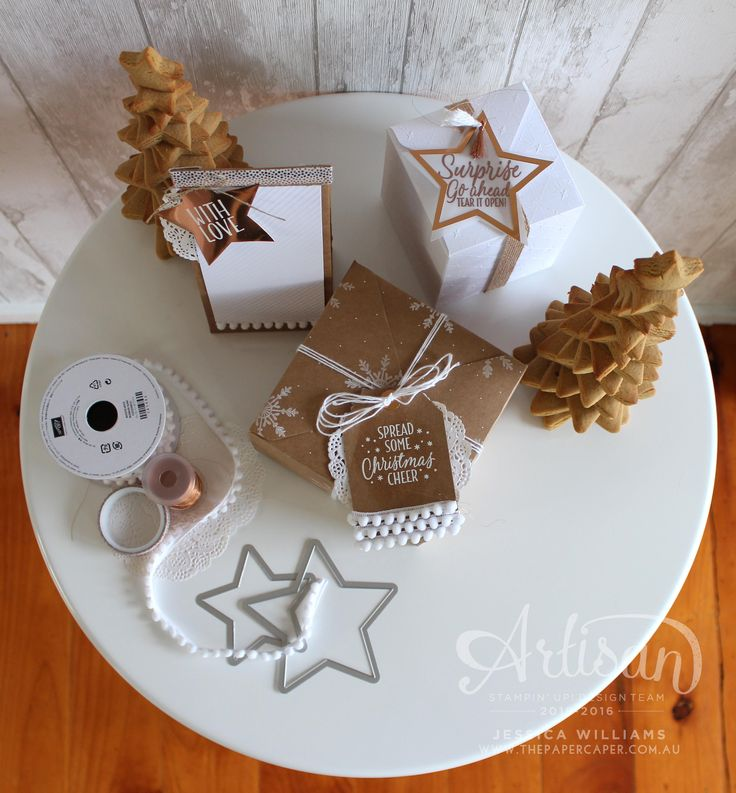 Pretty Packages in kraft, white and copper for Stampin' Up! Artisan Design Team