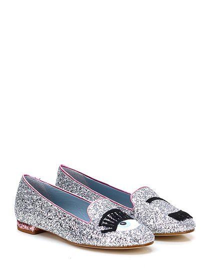 Chiara Ferragni - Flat shoes - Women - Scarpa bassa in glitter con applicazione frontale e suola in cuoio. Tacco 15. - SILVER\PINK