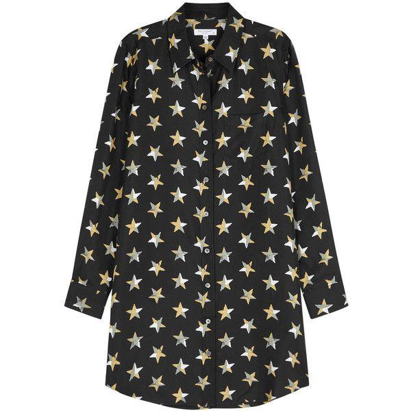 64478943371253 Equipment Brett Star-print Silk Twill Shirt Dress ( 490) ❤ liked on  Polyvore featuring dresses