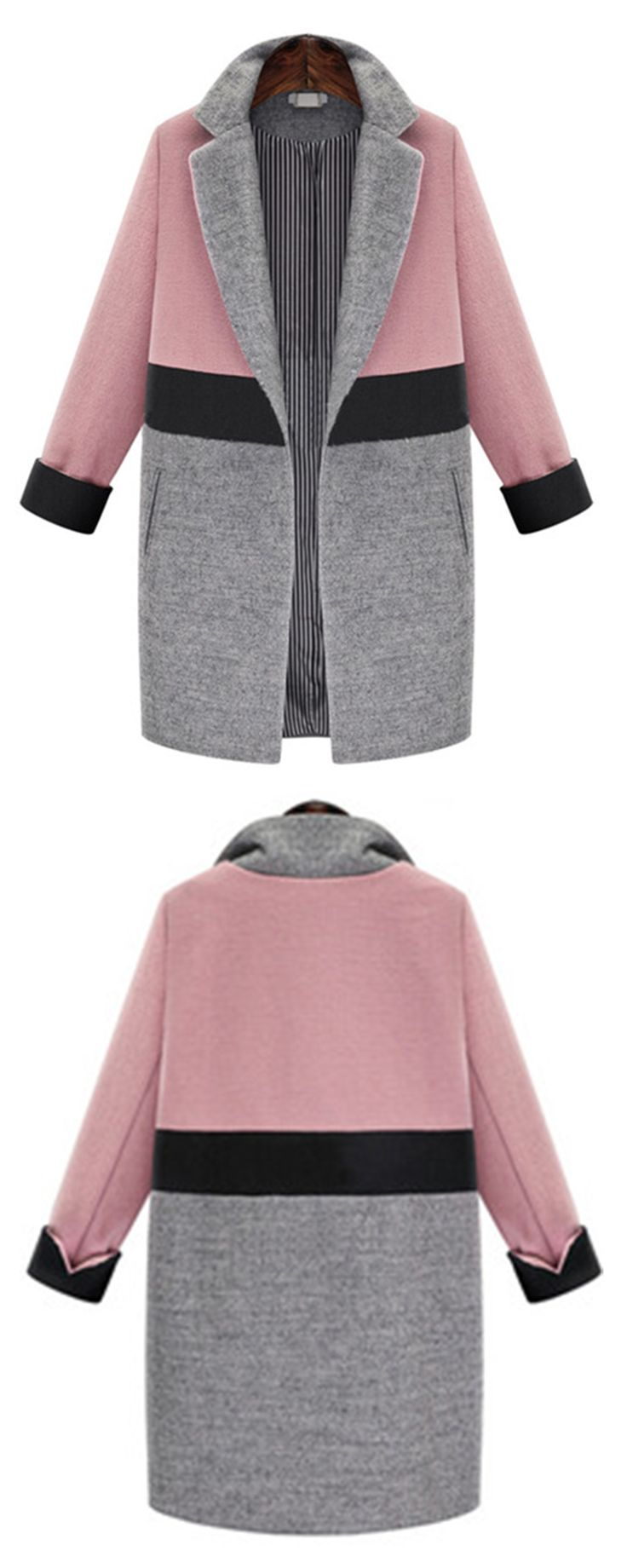 Cant wait to wear this gorgeous Pink Grey Lapel Pockets Woolen Coat when the days turn cool and crisp.