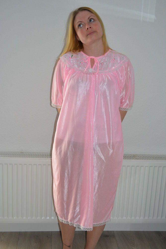 Vintage Dederon Nylon Nachthemd Negglige transparent Gr.XXL pink ölig glänzend  | eBay