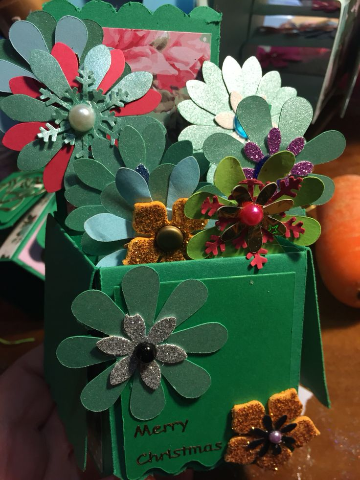 Merry Christmas Flower box pop up card made with cricut all occasions cartridge . Punched flowers