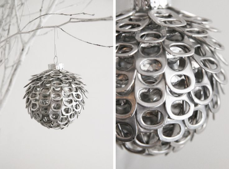 Pop can tabs on a clear plastic ornament ball--hot glued!! the3Rsblog Ornaments 04