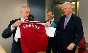 Jeremy Corbyn sets out Labour's vision for Brexit on Brussels visit  Meeting with EU's chief negotiator, Michel Barnier, focused on UK continuing to have access to the single market #Brexit