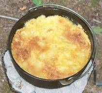 Dump cake for camping! Boxed yellow cake mix, peaches, pineapple, butter...just add ice cream!