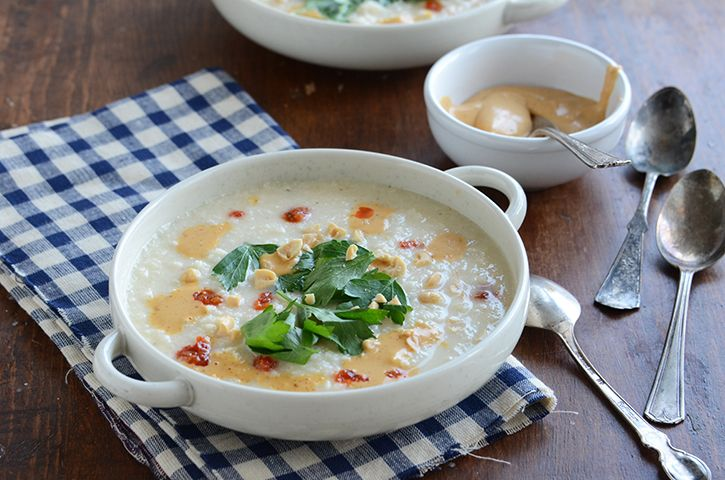 Roasted Cauliflower Soup with Spicy Peanut Butter Crème from the ...