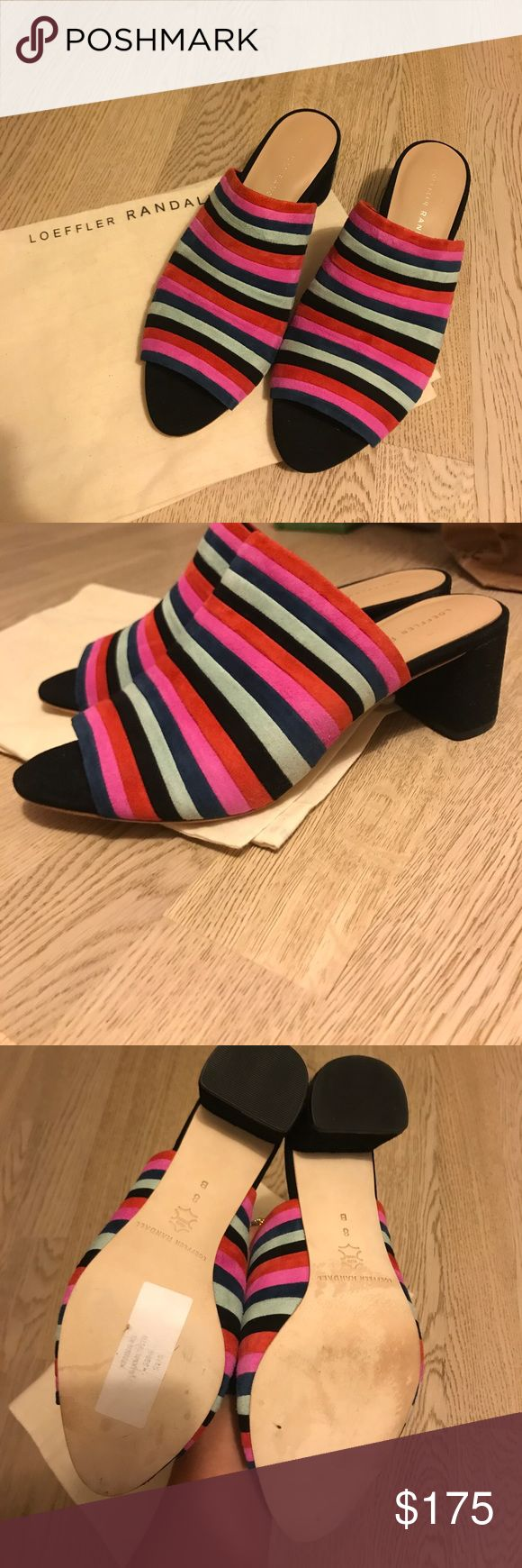 """Loeffler Randall suede striped heeled sandals Never ever worn! Bought on sale but they don't fit me well. Soooo cute. Amazing for summer. Beautiful quality and great style. 2"""" heel which is totally comfortable. Loeffler Randall Shoes Mules & Clogs"""