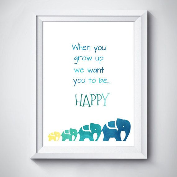 Baby nursery quote print elephant blue green by MonsterTots