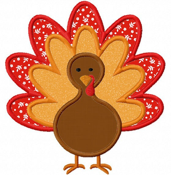 Thanksgiving Turkey Applique Machine Embroidery Design NO