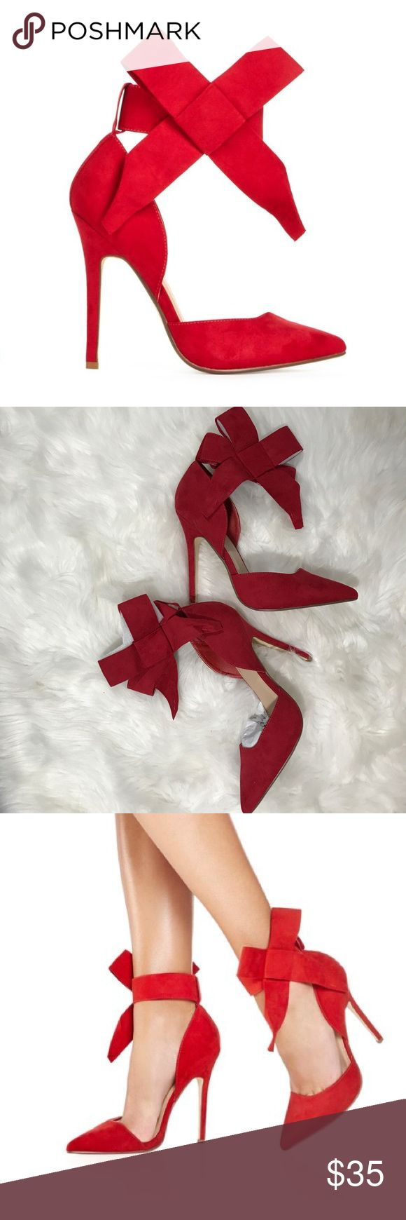 JustFab Hadley Bow Heels NWT size 10 NWT never worn adorable bow heels from JustFab. Didn't return in time, my loss is your gain! Have original box. Please note the color is a much deeper red than shown in stock photos, please see my flat shot of the actual shoes for better representation of color.   From website  4.5⭐️ out of 5!   Make it an haute holiday in Hadley. She's an irresistible d'Orsay pointed toe pump with a gore and Velcro strap featuring a big bow at the ankle.  Fit: True to…