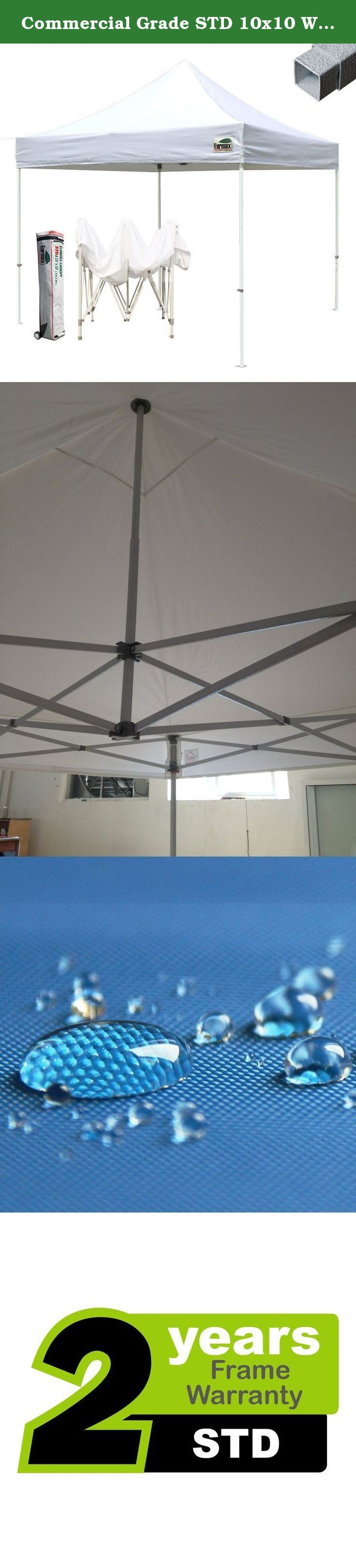 Commercial Grade STD 10x10 White Canopy Tent Pop up Gazebo Canopy Shelter with Wheeled Bag. Eurmax Std 10x10 canopy tent is our Commercial grade pop up gazebo, this is a classic steel pop up gazebo which combine quality and cost effective. It can be quickly erected by one or two people without any tools. The Std pop up gazebo come with a heavy duty wheeled bag and it is great for outdoor festivals, wedding, party, markets, concessions, sporting events and more. One important reason for...