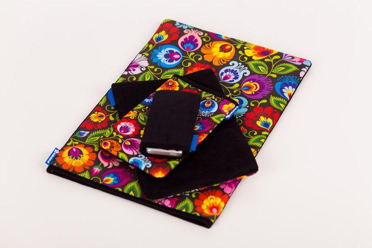 Etui FOLK na telefon, tablet, laptopa. Wycinanka łowicka