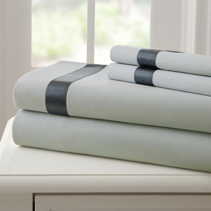 Fine Linen 100% Cotton 4 Piece Sheet Set with Satin Band - Silver/Charcoal