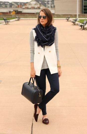 30 outfits that prove pinstripes are back - pinstripe scarf + white vest