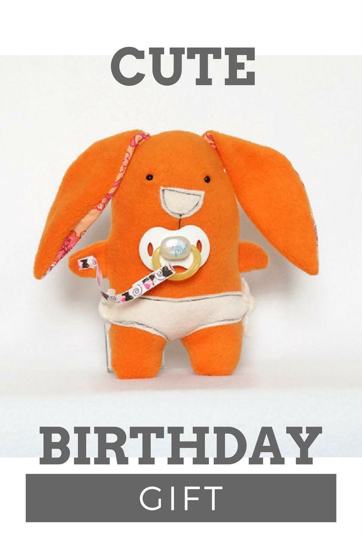 Orange Baby Rabbit Softie, Bunny Rabbit, Plush Toy, new baby gifts, baby shower gifts for boys, gifts for baby boy, unique baby boy gifts #birthday #gidt #kids #happyli